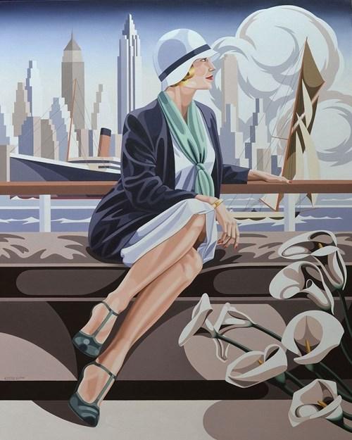 Obraz do salonu artysty Tomasz Kostecki pod tytułem Kobieta z kaliami