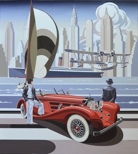 Obraz do salonu artysty Tomasz Kostecki pod tytułem Kobieta i czerwony mercedes
