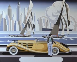 Living room painting by Tomasz Kostecki titled Woman and Yellow Mercedes