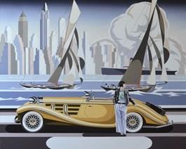 Obraz do salonu artysty Tomasz Kostecki pod tytułem Kobieta i żółty mercedes