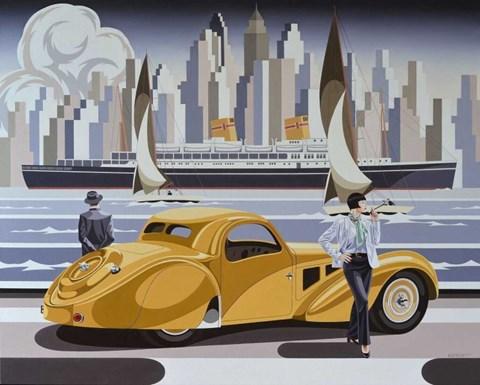 Obraz do salonu artysty Tomasz Kostecki pod tytułem Kobieta i żółte Bugatti