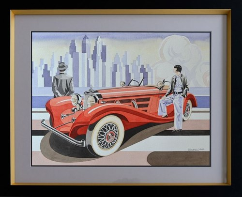 Living room painting by Tomasz Kostecki titled Woman and Mercedes