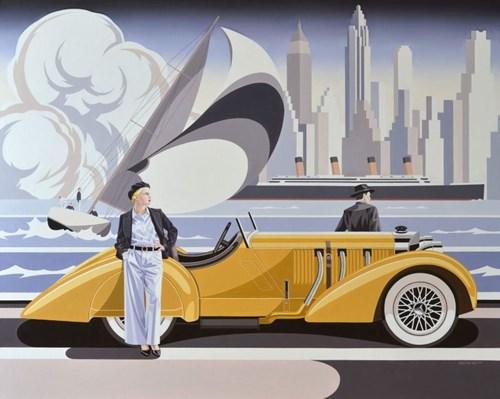 Obraz do salonu artysty Tomasz Kostecki pod tytułem Kobieta i żółty mercedes II