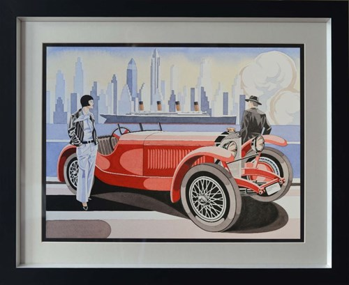 Living room painting by Tomasz Kostecki titled Woman With Mercedes 4