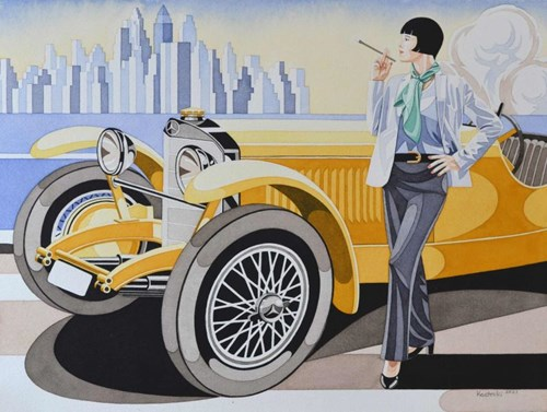 Living room painting by Tomasz Kostecki titled Woman and Mercedes 5