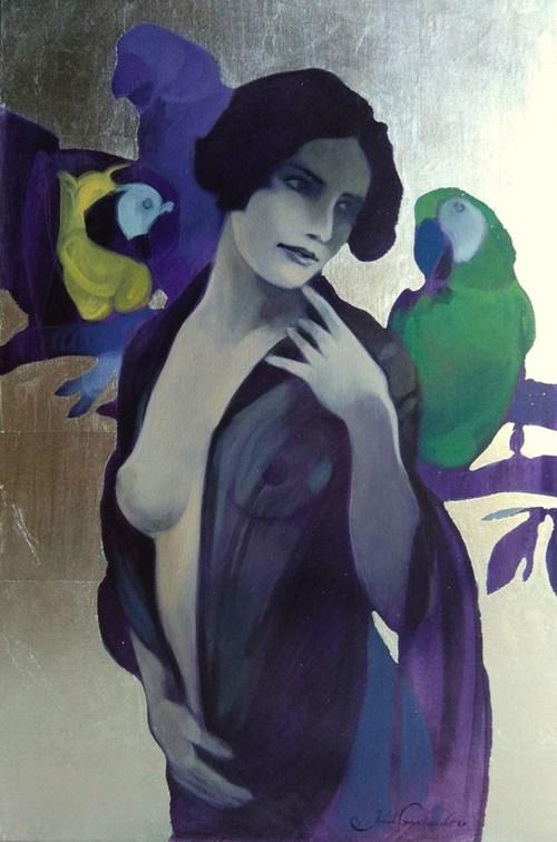 Obraz do salonu artysty Jakub Godziszewski pod tytułem Kobieta z papugami
