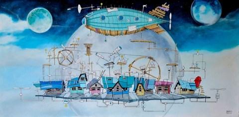 """Obraz do salonu artysty Dariusz Franciszek Różyc pod tytułem Blue Zeppelin z cyklu """"Nie tak odległe"""""""