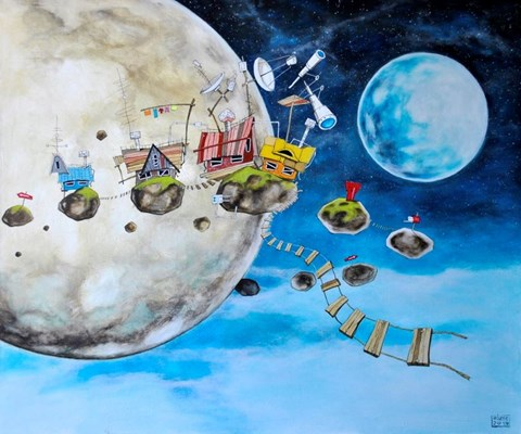 Obraz do salonu artysty Dariusz Franciszek Różyc pod tytułem In Orbita z cyklu Nie tak odległe