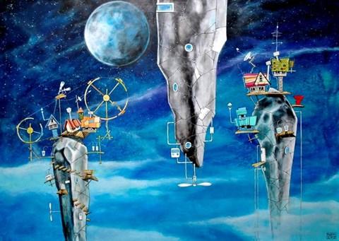 Obraz do salonu artysty Dariusz Franciszek Różyc pod tytułem Oumuamuas (z cyklu Nie tak odległe)