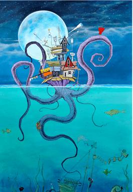 Obraz do salonu artysty Dariusz Franciszek Różyc pod tytułem Wyspa Krakena