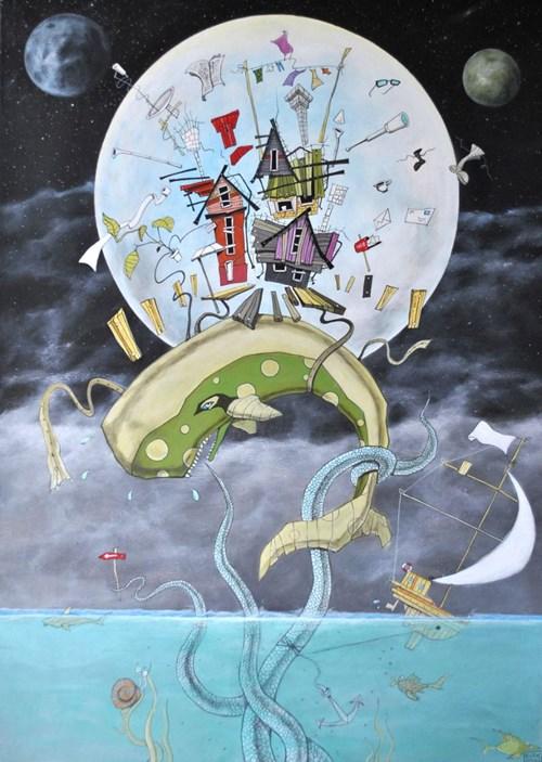 """Obraz do salonu artysty Dariusz Franciszek Różyc pod tytułem Zielony kaszalot z cyklu """"Nie tak odległe"""""""