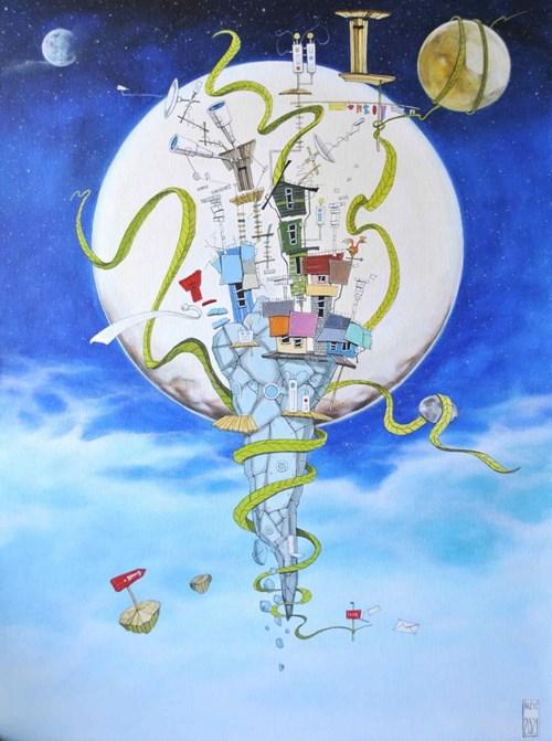 Obraz do salonu artysty Dariusz Franciszek Różyc pod tytułem Blue Iwa z cyklu Nie tak odległe