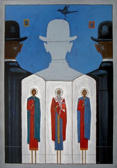 Obraz do salonu artysty Mikołaj Malesza pod tytułem Zawróceni