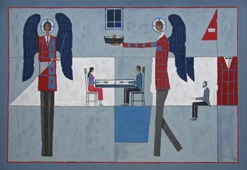 Obraz do salonu artysty Mikołaj Malesza pod tytułem Rozmowa