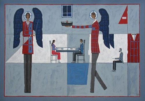 Living room painting by Mikołaj Malesza titled Talk