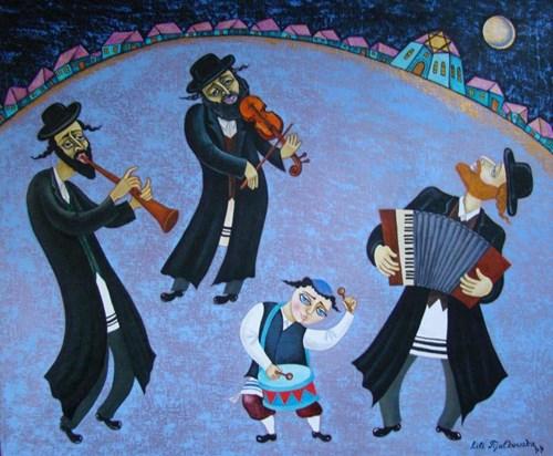 Obraz do salonu artysty Lili Fijałkowska pod tytułem Nocni Klezmerzy