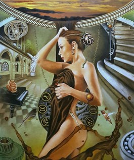 Living room painting by Monika Krzymińska-Śluborska titled Time Illusion