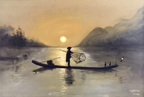 Obraz do salonu artysty Grażyna Jeżak pod tytułem Zatoka Ha Long