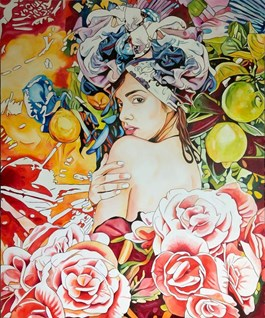 Living room painting by Joanna Szumska titled Summer Fruit Dress