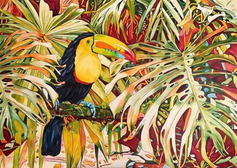 Living room painting by Joanna Szumska titled Island Sounds
