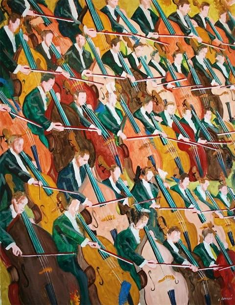 Obraz do salonu artysty Cyprian Nocoń pod tytułem 37 kontrabasistów