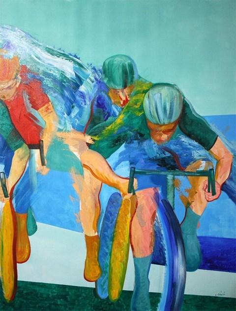 Obraz do salonu artysty Cyprian Nocoń pod tytułem Cykliści