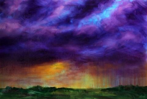 Obraz do salonu artysty Cyprian Nocoń pod tytułem Burza o zachodzie