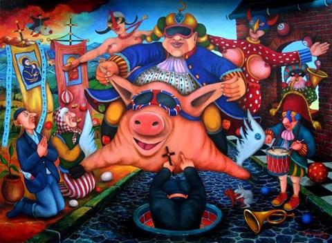 Obraz do salonu artysty Jacek Lipowczan pod tytułem Walka Postu z Karnawałem