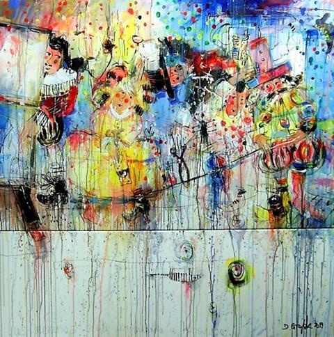 Obraz do salonu artysty Dariusz Grajek pod tytułem Las Meninas, czyli wizyta krawca (dyptyk)