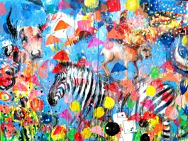Living room painting by Dariusz Grajek titled Animal Pyramid
