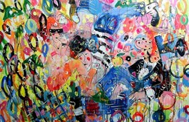 Living room painting by Dariusz Grajek titled Party Animals