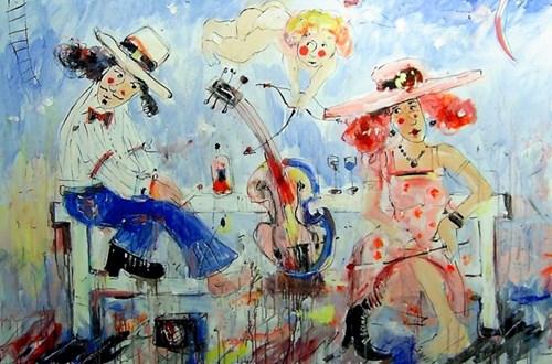 Living room painting by Dariusz Grajek titled Lovers Bench