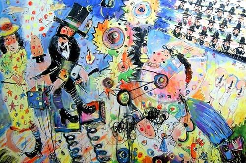 Living room painting by Dariusz Grajek titled Illisionist