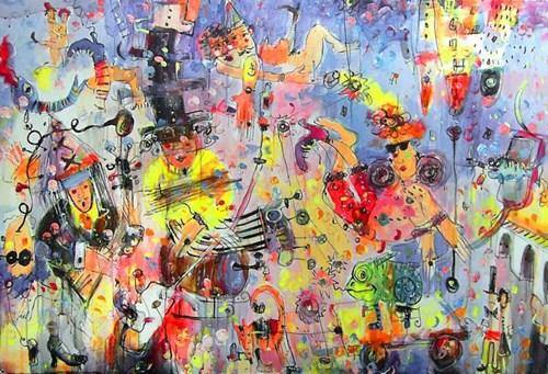 Obraz do salonu artysty Dariusz Grajek pod tytułem Walka postu z karnawalem
