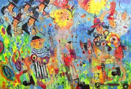Obraz do salonu artysty Dariusz Grajek pod tytułem Królewna i rycerze