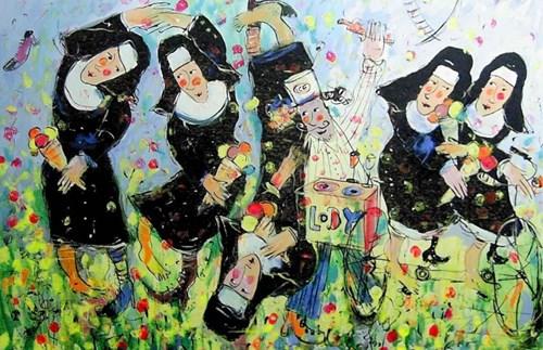 Obraz do salonu artysty Dariusz Grajek pod tytułem Lodziarz i zakonnice