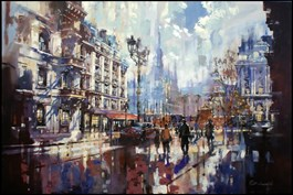 Living room painting by Piotr Zawadzki titled Metropolis. Paris Dream III