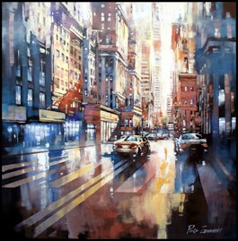 Living room painting by Piotr Zawadzki titled Metropolis - New York City Gold
