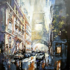 Living room painting by Piotr Zawadzki titled Rue de l'Universite (Metropolis Series)