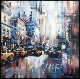 Obraz do salonu artysty Piotr Zawadzki pod tytułem Metropolis NYC Gold
