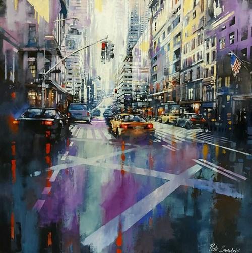 Living room painting by Piotr Zawadzki titled Metropolis. Purple New York
