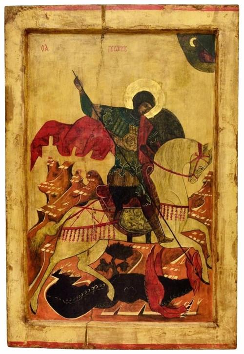 Obraz do salonu artysty Ewa Jaworska pod tytułem Święty Jerzy na podstawie rosyjskiego przedstawienia z XVI wieku