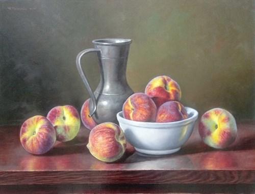 Obraz do salonu artysty Wojciech Piekarski pod tytułem Martwa natura z brzoskwiniami