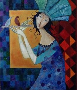 Obraz do salonu artysty Jan Bonawentura Ostrowski pod tytułem Flecistka
