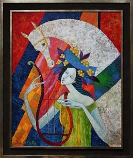 Obraz do salonu artysty Jan Bonawentura Ostrowski pod tytułem Dziewczyna z koniem