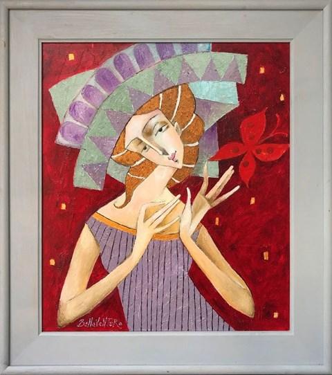 Obraz do salonu artysty Jan Bonawentura Ostrowski pod tytułem Dziewczyna z motylem