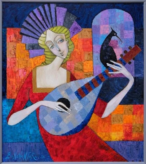 Obraz do salonu artysty Jan Bonawentura Ostrowski pod tytułem Dziewczyna z lutnią