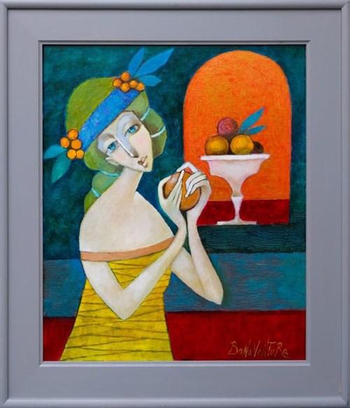 Living room painting by Jan Bonawentura Ostrowski titled Girl with Orange