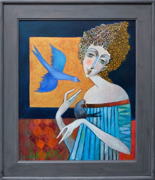 Obraz do salonu artysty Jan Bonawentura Ostrowski pod tytułem Dziewczyna i błękitny ptak