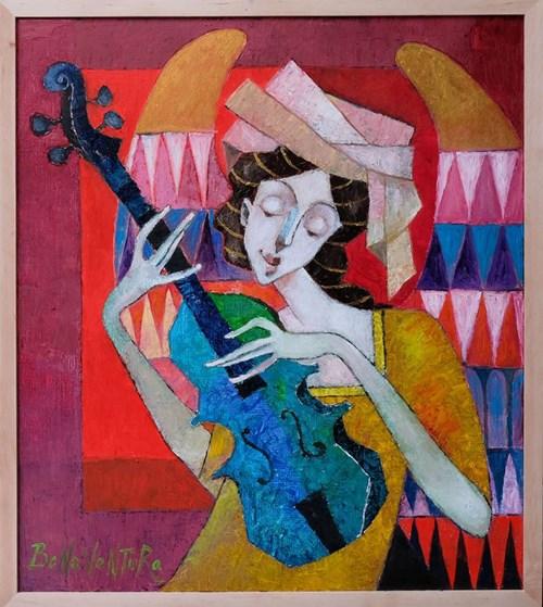 Obraz do salonu artysty Jan Bonawentura Ostrowski pod tytułem Dziewczyna z mandoliną
